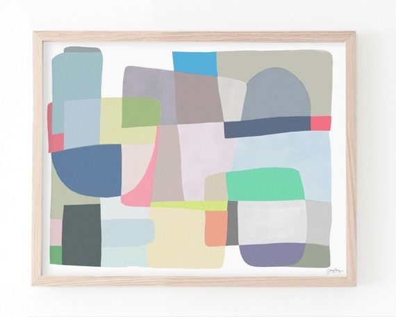 Abstract with Shapes Art Print. Available Framed or Unframed. 180514.