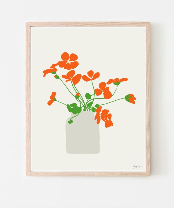 Still Life with Nasturtiums Art Print. Available Framed or Unframed. 120926.