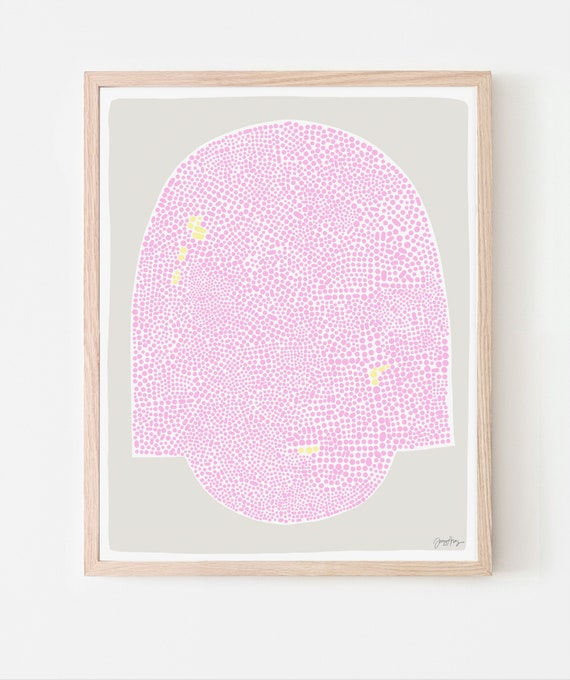 Abstract Art Print with Pink Dots. Available Framed or Unframed. 190926.