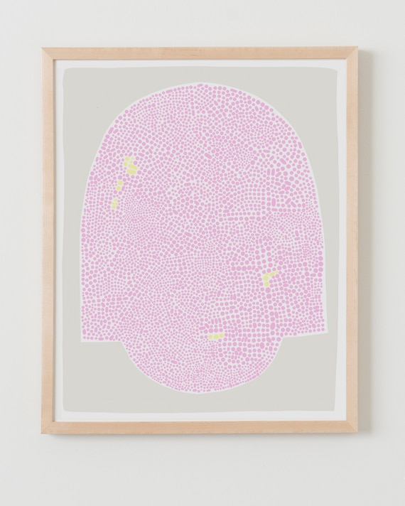 Fine Art Print.  Abstract with Pink Dots. Available Framed or Unframed.