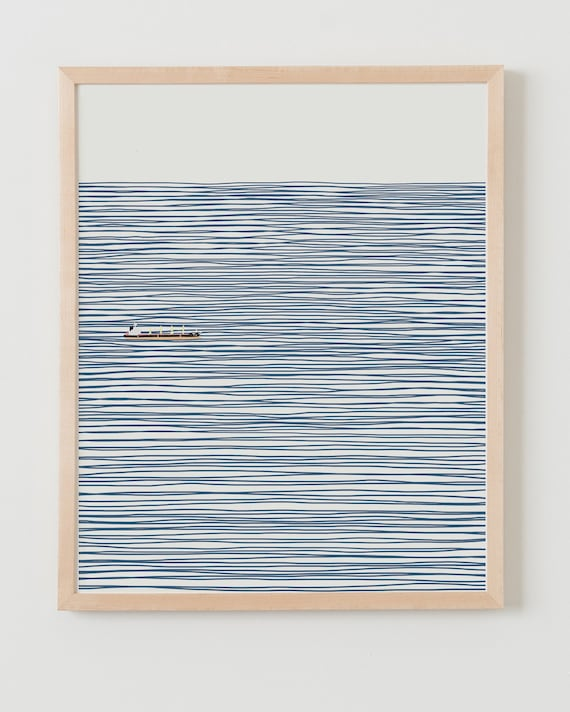 Fine Art Print.  Container Ship on Striped Ocean. Available Framed or Unframed.