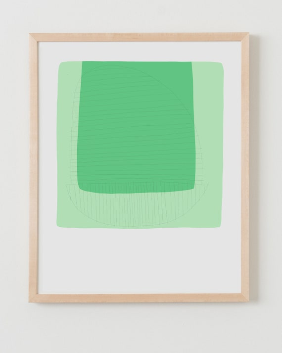 Fine Art Print.  Abstract Colorblock with Green, March 11, 2019.