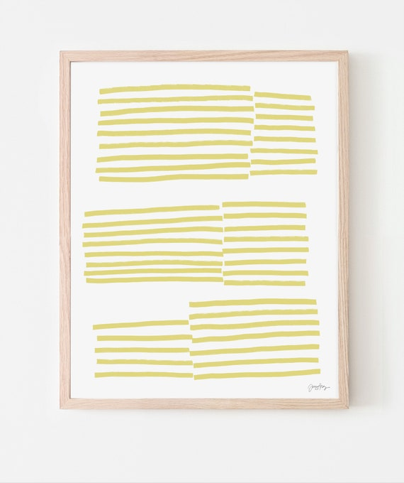 Abstract Art Print with Yellow Stripes. Framed or Unframed. Multiple Sizes Available. 181114.