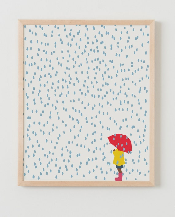 Fine Art Print. Girl with Umbrella in the Rain. April 2, 2016.