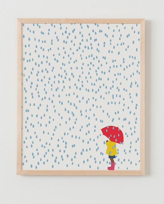 Framed Fine Art Print. Girl with Umbrella in the Rain. April 2, 2016.