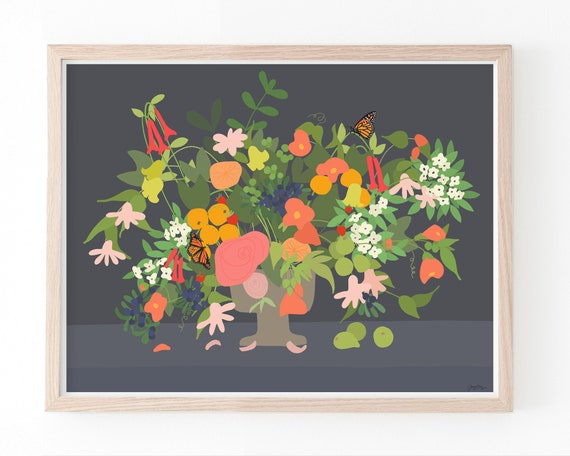 Still Life with Flowers Art Print. Available Framed or Unframed. 191214.