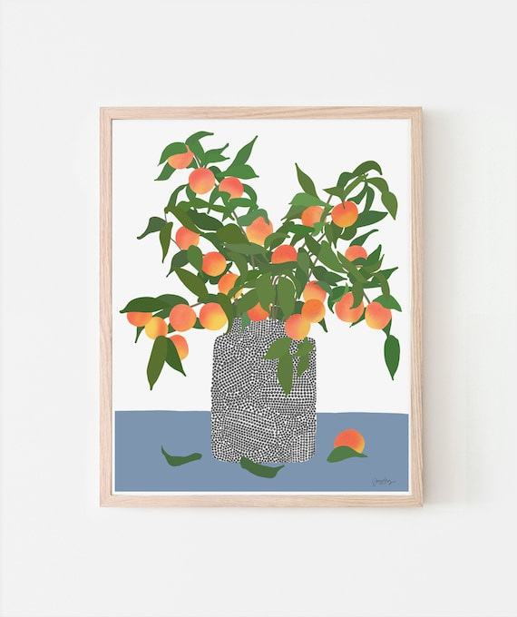 Still Life with Peach Fruit Tree Branches Art Print. Signed. Available Framed or Unframed. 200323.