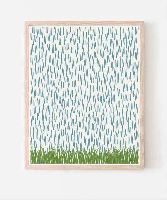 Falling Rain Art Print. Available Framed or Unframed. Multiple Sizes. 141204.