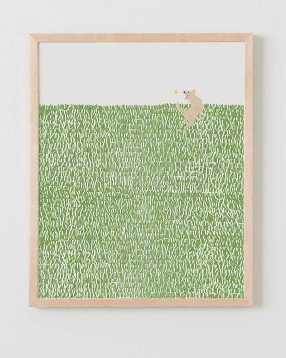 Fine Art Print.  Dog Catching Tennis Ball.  July 15, 2014.