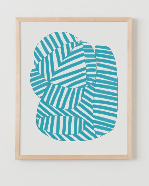 Fine Art Print.  Stripe Study Turquoise, August 14, 2017.