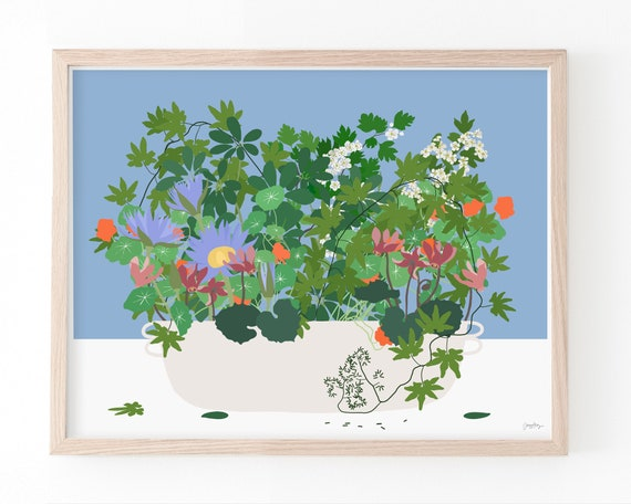 Still Life with Many Flowers and Leaves. Available Framed or Unframed. 210315.