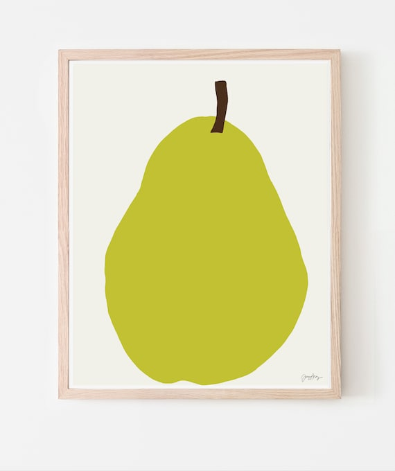 Bartlett Pear Art Print. Multiple Sizes. Available Framed or Unframed. 121212.
