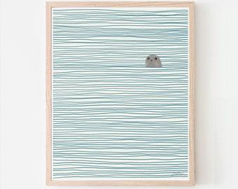 Seal Art Print. Signed. Available Framed or Unframed. Multiple Sizes. 130127.