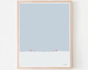 Golden Gate Bridge in the Fog Art Print. Signed. Available Framed or Unframed. Multiple Sizes. 120930.