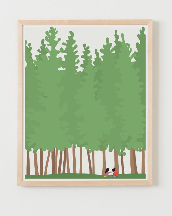 Fine Art Print. Girls Playing in the Woods. Available Framed or Unframed.