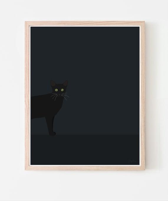 Black Cat at Night Framed Art Print. Framed or Unframed. Multiple Sizes Available. 141028.