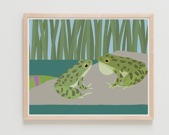 Frog Friends Art Print. Available Framed or Unframed.