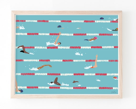 Swim Team Practice Art Print. Available Framed or Unframed. 160505.