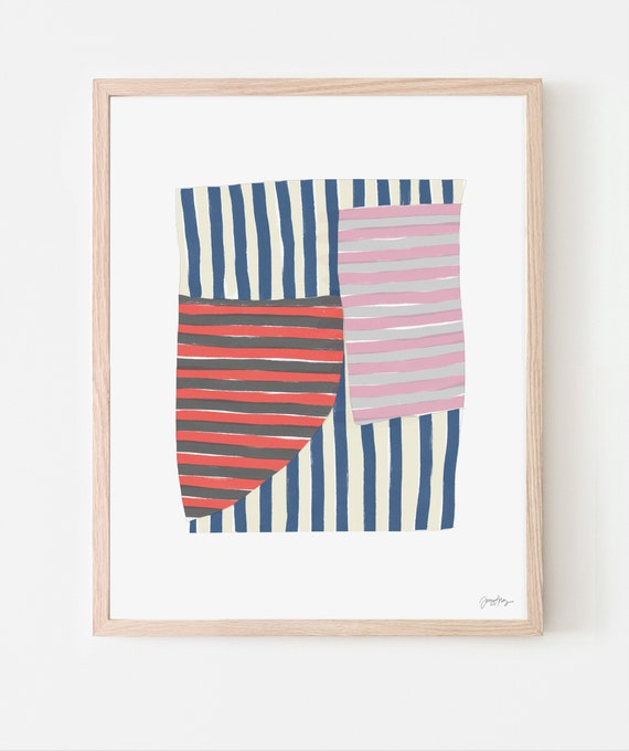 Abstract Art Print with Navy Blue Stripes. Available Framed or Unframed. Multiple Sizes. 170927.