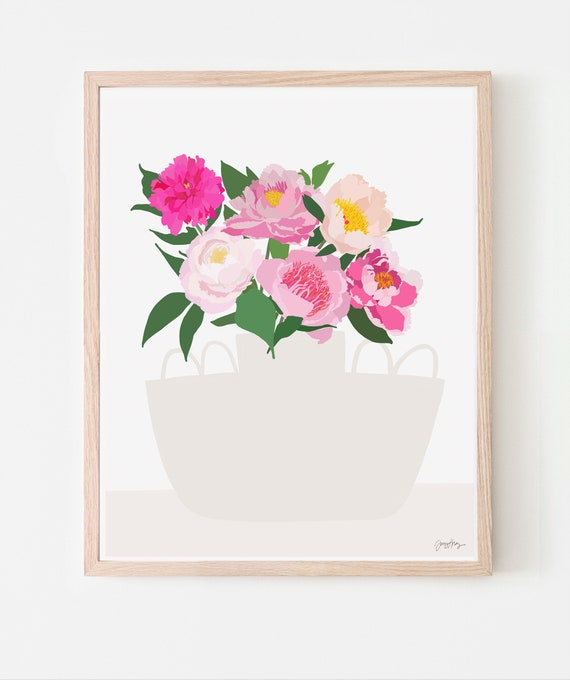 Still Life with Peony Flowers in a White Vase Art Print. Multiple Sizes. Framed or Unframed. 200910.