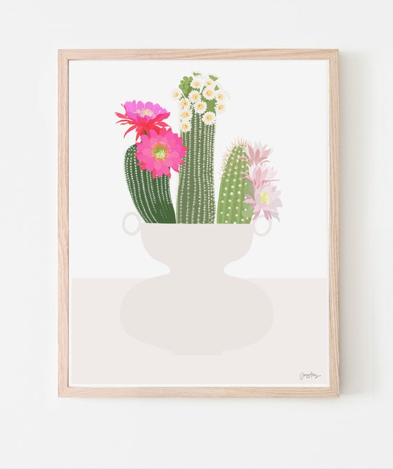 Still Life with Cactus Flowers in Vase Art Print. Available Framed or Unframed. Multiple Sizes. 201117.