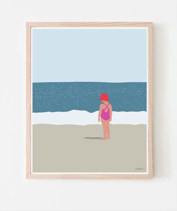 Girl Standing at Beach Art Print. Available Framed or Unframed. 130718.