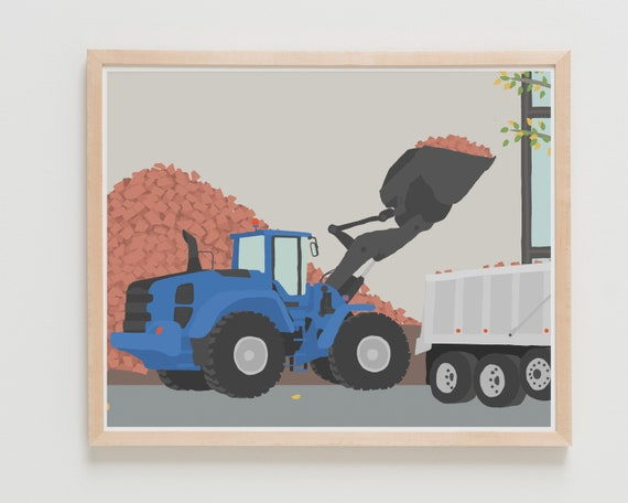 Construction Truck Art Print. Available Framed or Unframed.