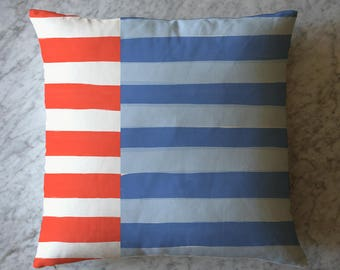 Stripe Pillow - Orange White and Blue