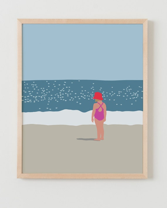 Fine Art Print.  Girl Standing at Beach.  July 18, 2013.