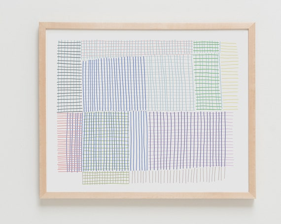 Fine Art Print.  Abstract with Grids and Stripes. Available Framed or Unframed.
