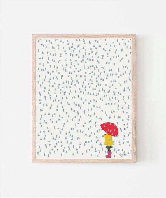 Girl in the Rain Art Print. Signed. Available Framed or Unframed. 140206.