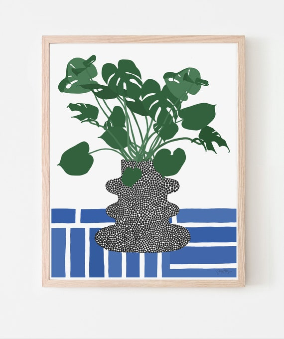 Still Life with Tropical Plant and Blue and White Tiles. Art Print. Available Framed or Unframed.  200527.