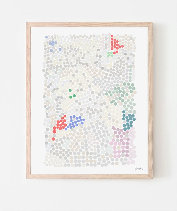 Abstract with Dots Art Print. Available Framed or Unframed. 200319.