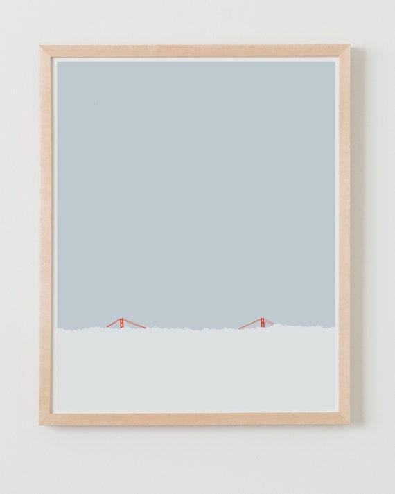 Fine Art Print. Golden Gate Bridge in the Fog. Available Framed or Unframed.