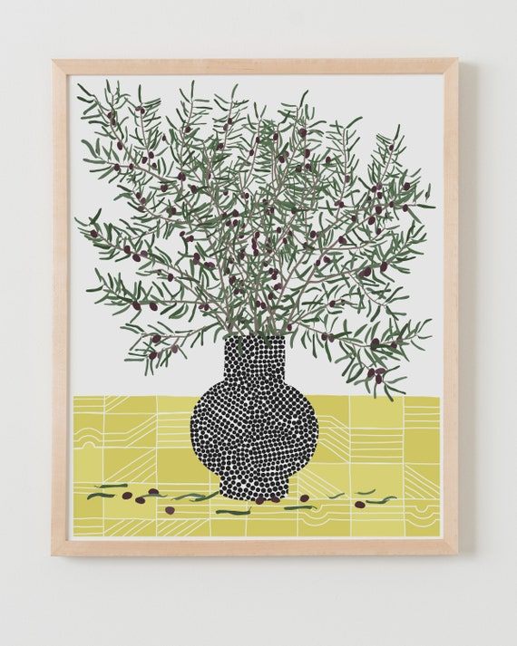 Fine Art Print. Still Life with Olive Branches. Available Framed or Unframed.