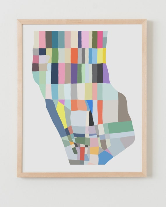 Fine Art Print.  Abstract Map Downtown Manhattan. Available Framed or Unframed.