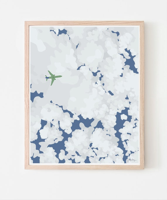 Clouds, Sky, and Airplane Art Print. Multiple Sizes. Available Framed or Unframed. 140109.