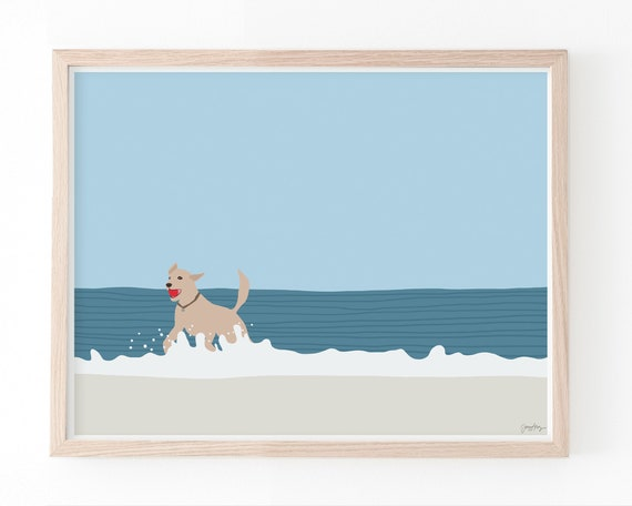 Dog Fetching Ball Art Print. Available Framed or Unframed.
