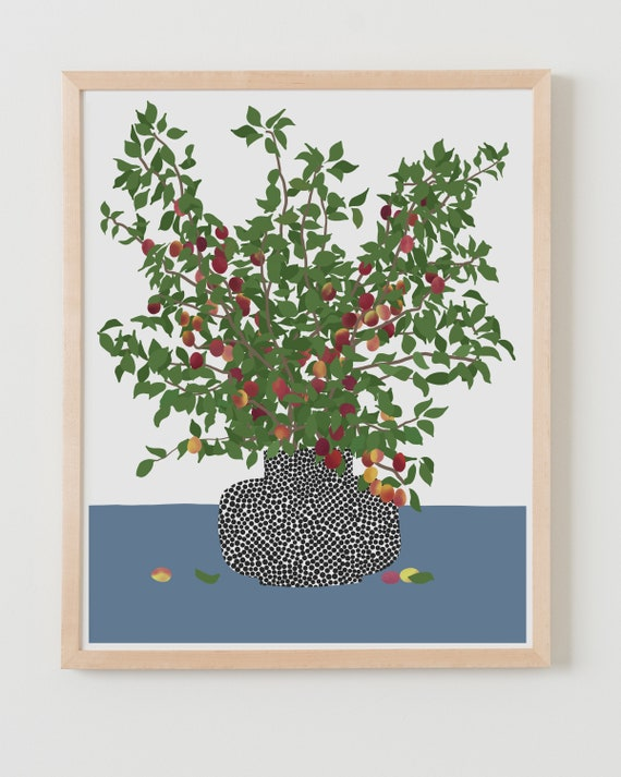 Fine Art Print. Still Life with Plum Branches. Available Framed or Unframed.