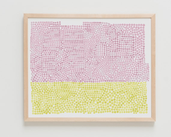 Fine Art Print. Abstract with Pink and Yellow Dots. Available Framed or Unframed.