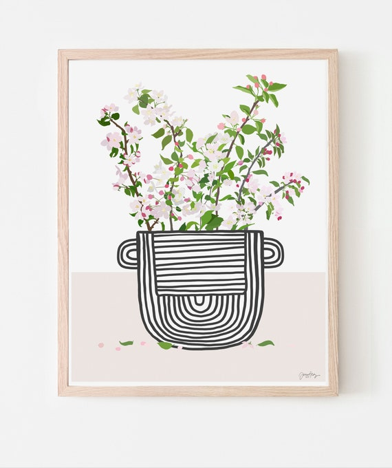 Still Life with Apple Blossoms in Striped Vase Art Print. Available Framed or Unframed. Multiple Sizes. 201206.