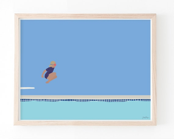 Girl Jumping into Swimming Pool Art Print. Available Framed or Unframed. 150713.