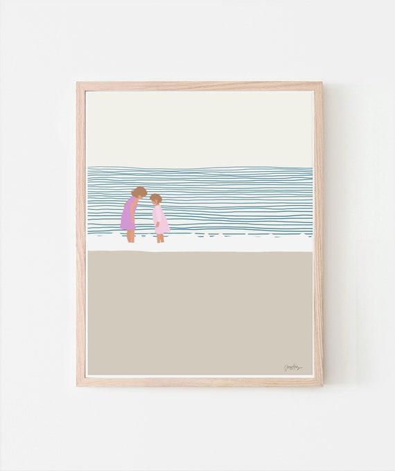 Girls at the Beach Art Print. Signed. Available Framed or Unframed. Multiple Sizes. 140619.