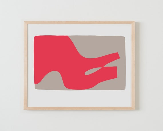 Fine Art Print.  Abstract with Coral and Tan. Available Framed or Unframed.