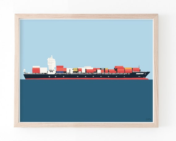 Container Ship Art Print. Framed or Unframed. Multiple Sizes Available. 141125.