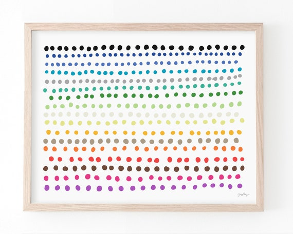 Rainbow Polka Dots Art Print. Available Framed or Unframed. 150422.