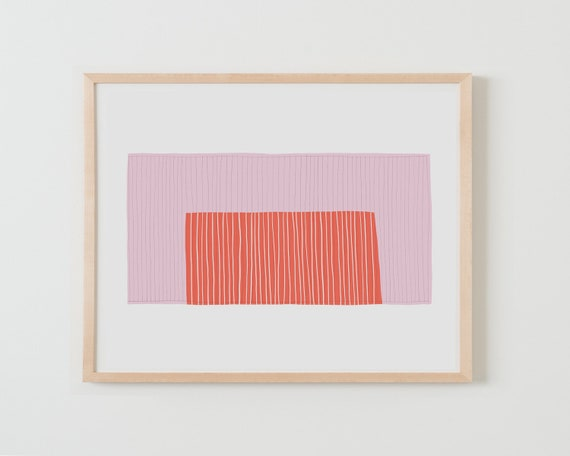 Fine Art Print. Abstract Colorblock with Pink and Orange. Available Framed or Unframed.