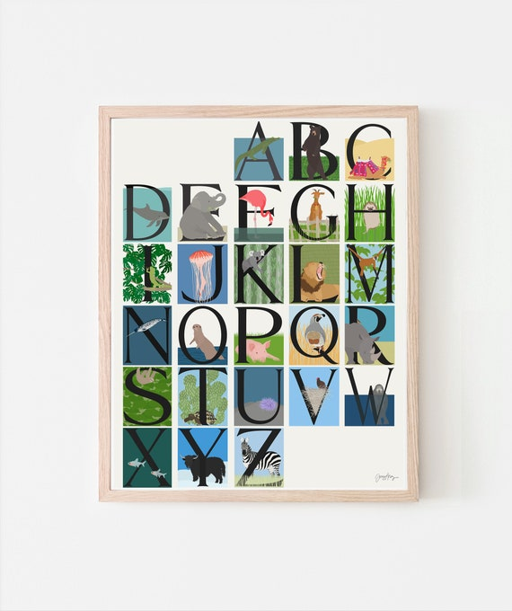 Animal Alphabet Art Print. A to Z. Signed. Available Framed or Unframed.