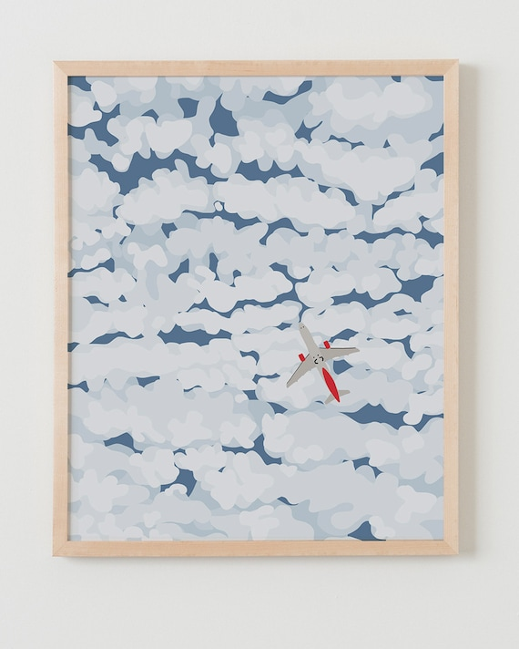 Fine Art Print. Sky with Airplane and Clouds. Available Framed or Unframed.