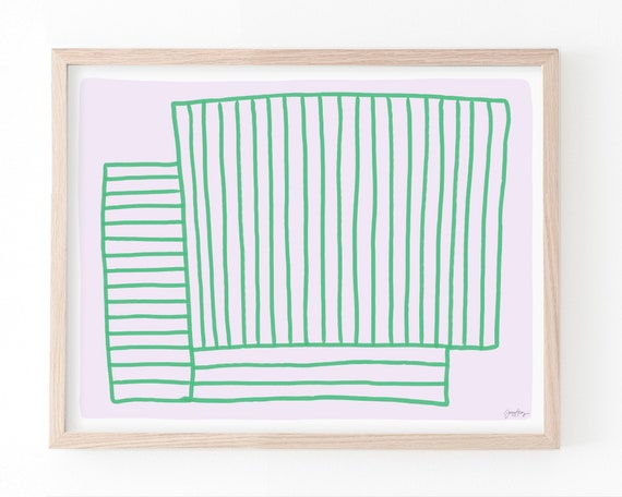 Abstract with Green Stripes on Pink Art Print. Available Framed or Unframed. 180820.